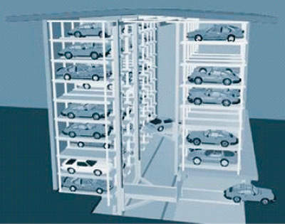 A cross section of the automated parking facility.