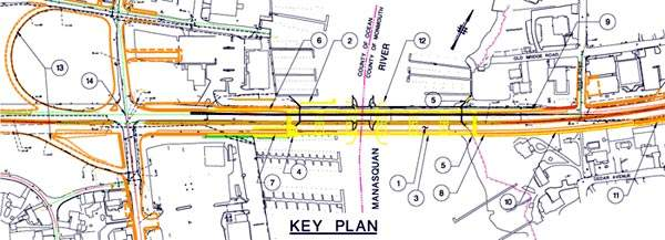 A plan of the proposed changes to Route 70 and the bridge.