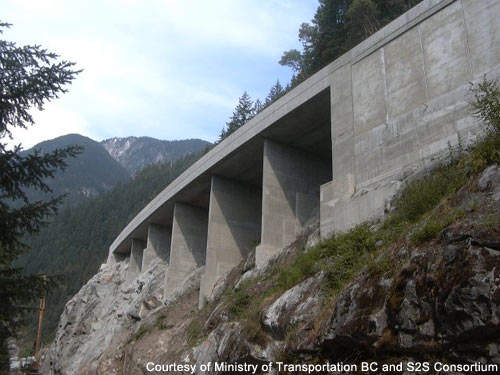 Some parts of the Sea-to-Sky Highway are being widened to four lanes, using new, stronger bridges to withstand adverse weather conditions.