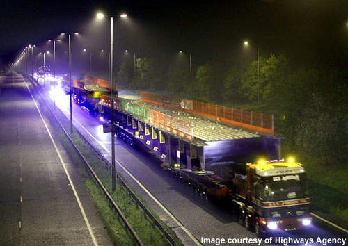 Sections of the new Surtees bridge were transported at night.