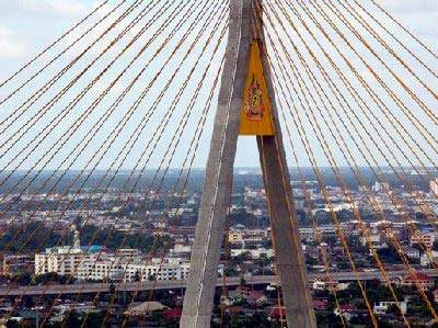 The view over Bangkok from the top of the of the Chao Phraya Mega Bridge.