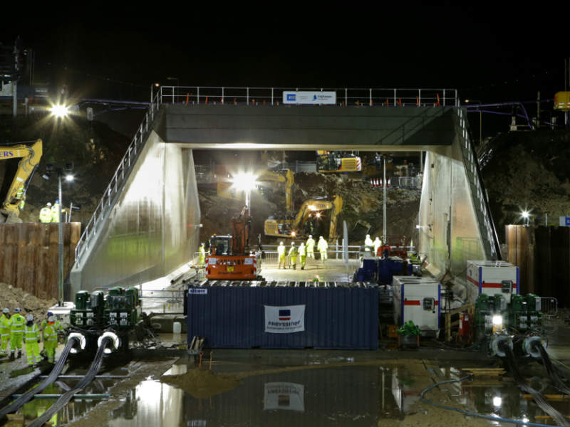The bridge was slipped into position using four 1,000t jacks and other hydraulic equipment. Image courtesy of Highways England.