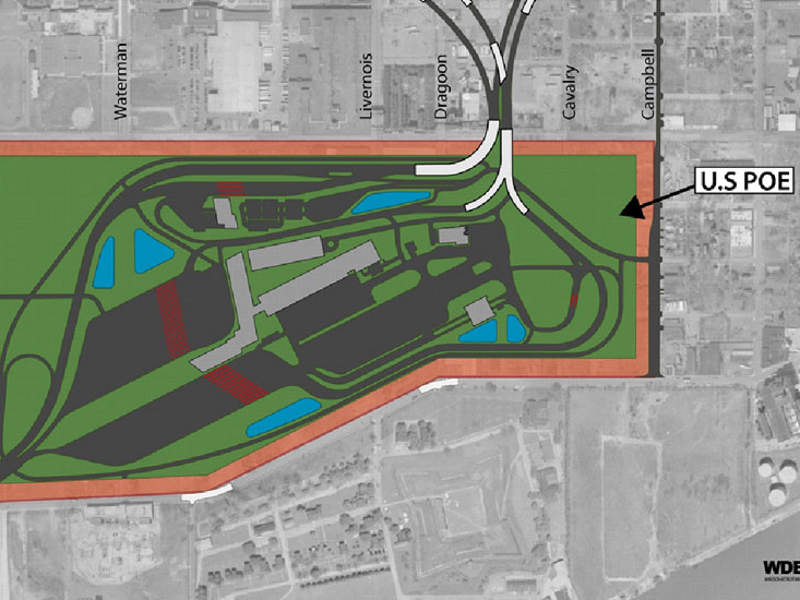 The US POE will be spread over an area of 60ha. Image courtesy of the Windsor-Detroit Bridge Authority.