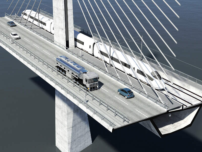 The bridge will include a two-way road, dual-track train, and bicycle paths. Image courtesy of Vejdirektoratet.