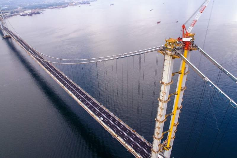 The Osman Gazi suspension bridge is designed to carry more than 40,000 vehicles a day. Image courtesy of COWI A/S.