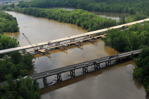 The new replaced bridge over the Yadkin River. Image courtesy of NCDOT communications.