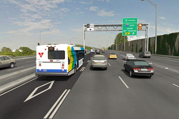 The project also includes the construction of 20km of reserved bus lanes on the A-20. Image: courtesy of Québec Ministry of Transportation.