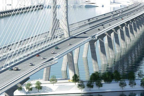 The bridge will include two three-lane corridors for vehicular traffic. Credit: Infrastructure Canada.