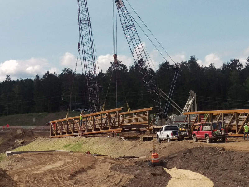 Paul Bunyan trail bridge truss sections were delivered to the construction site in September 2016. Image courtesy of Minnesota Department of Transportation.