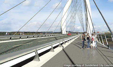The New Sunderland Bridge would have two traffic lanes in each direction and dedicated cycle and pedestrian ways.