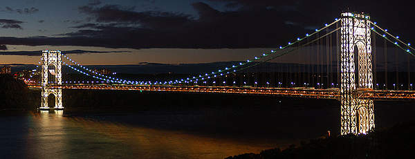 The LED lighting on the George Washington Bridge saves $49,000 in annual energy and maintenance costs. Image courtesy of Sorens.