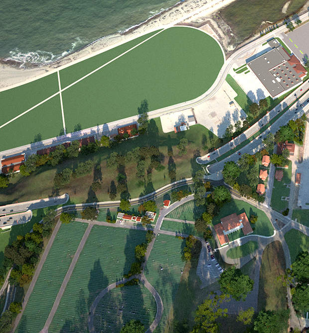 The future Lincoln Boulevard over the tunnels.