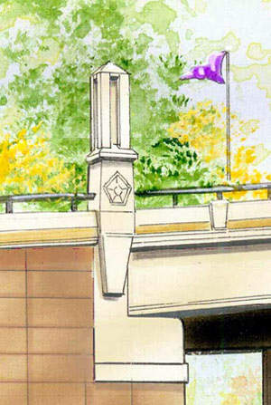 Architectural elements planned for the bridge.