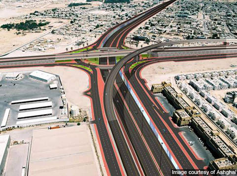 Artist's impression of the Industrial Interchange of the Doha Expressway.