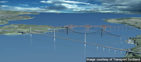 Computer generated image of Firth of Forth with the new bridge.