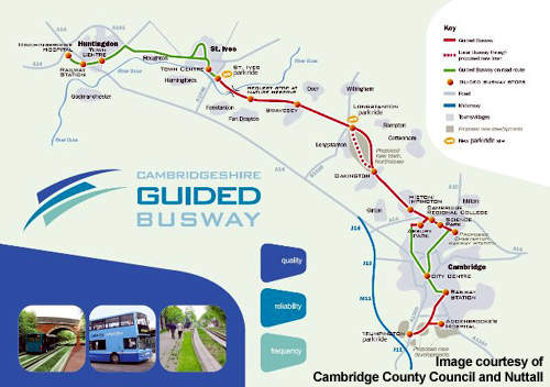 The Cambridgeshire Guided Busway project will help to relieve congestion on the A14.