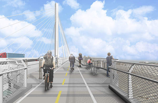 The new bridge will also include pedestrian and bike paths. Image courtesy of the Port of Long Beach.