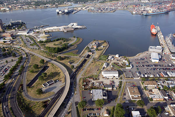 Aerial view of the Midtown tunnel from Norfolk side. Image courtesy of Trevor Wrayton, VDOT.