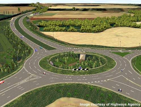 The already existing M40 Junction 15 roundabout has been modified by widening it to four lanes.