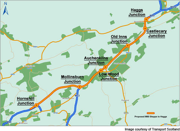 The route map of the M80 Stepps to Haggs Upgrade Project.