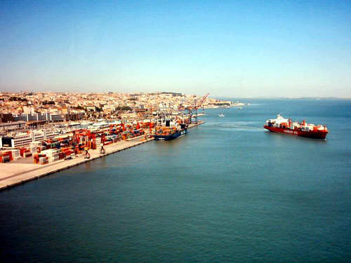 The Tagus River runs from Spain to the Port of Lisbon.