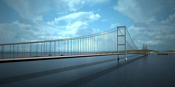 The 3.3km Izmit Bay Suspension Bridge with main span of 1,580m will be world's fourth largest suspension bridge by central span length. Image courtesy of OTOYOL YATIRIM VE ISLETME A.S.