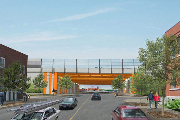 Preliminary civil works such as the construction of an overpass above the Angers Street has been completed. Image: courtesy of Québec Ministry of Transportation.
