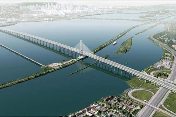 Aerial view of the new Champlain bridge. Image courtesy of Infrastructure Canada.