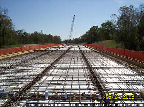 Reinforcing steel for the deck of the bridge.