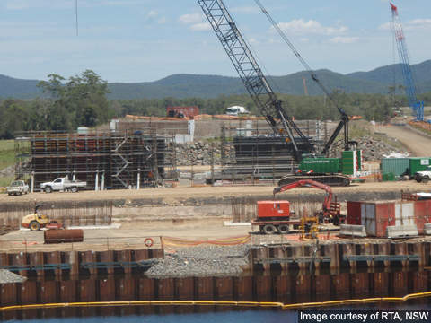 Bulahdelah upgrade - Crane and girders for the unloading of Myall River bridge girders.