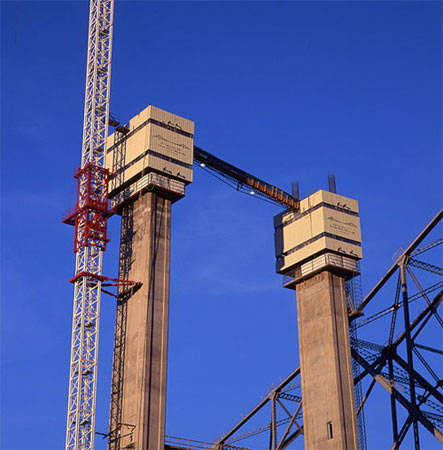 The towers of the Alfred Zampa Memorial Bridge under construction in 2002.