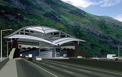 A computer-generated image of the Nam Wan Tunnel portal.