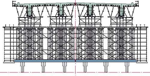 The structure of some of the PERI formwork system used on the Carregado to Benavente bridge.