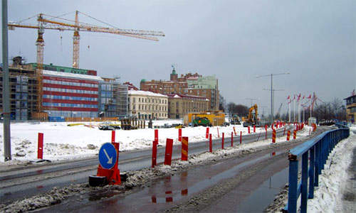 The area of Södra Älvstranden in February 2007, with nearby businesses already undergoing face lifts in preparation for the new open Södra Älvstranden.