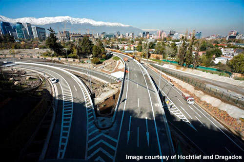 The San Cristóbal tunnel is part of a larger 4km-long project linking the business areas of Santiago to the northern suburbs.