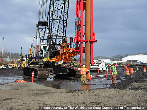 The first pile of the 900 piles being driven for the construction of casting basin at Aberdeen.