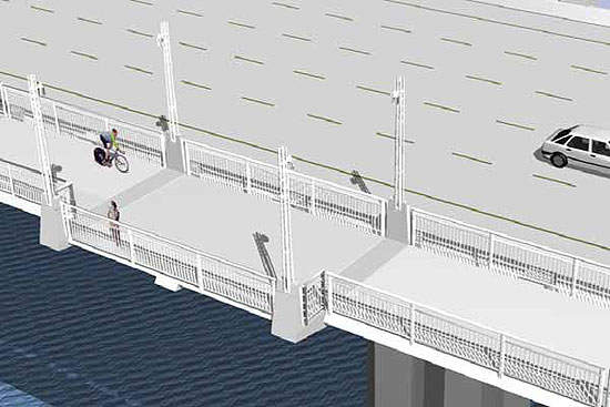 Artists impression of bikeway seen from above