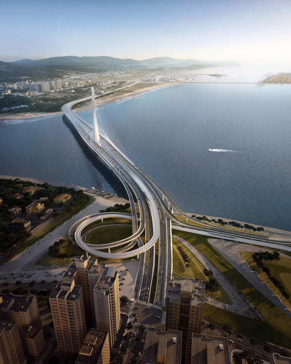 The bridge is expected to become a notable landmark in Taipei. Image: Danjiang Bridge by Zaha Hadid Architects, render by VisualArch.