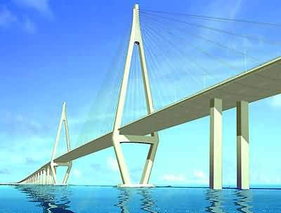 An artist's impression of the finished cable-stayed bridge.