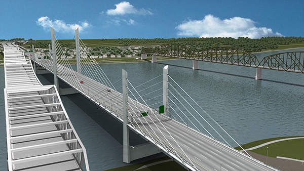 The designer's vision of how the Downtown Bridge will look from the waterfront park once built.