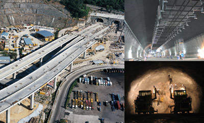 Construction of the Nam Wan Tunnel and motorway.