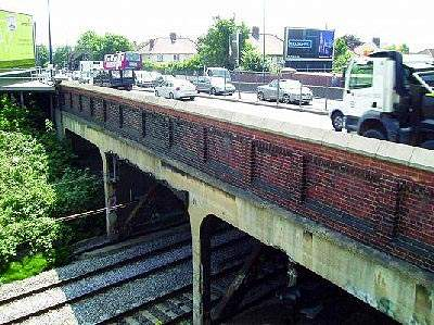 The Perryn Road bridge carrying the traffic load of a modern A40.