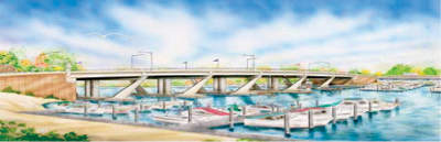 A rendering of how the bridge will look when completed in 2010.