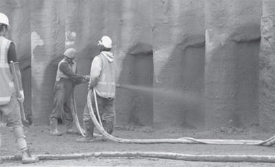 Shotcrete has been used to coat the exposed embankment between the piles on certain ramps