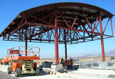 The toll plaza under construction in autumn 2006.