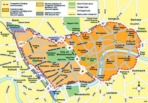 The western extension of the London congestion zone doubled the area covered, but this has changed since.