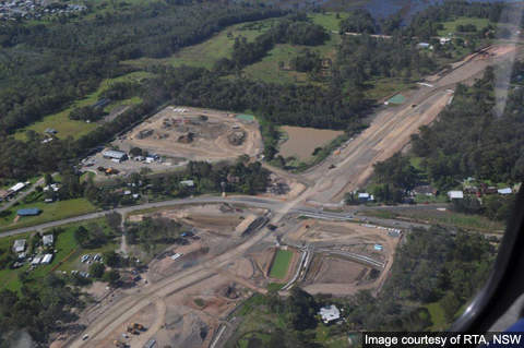 Kempsey upgrade - Aerial photo of Crescent Head Road.