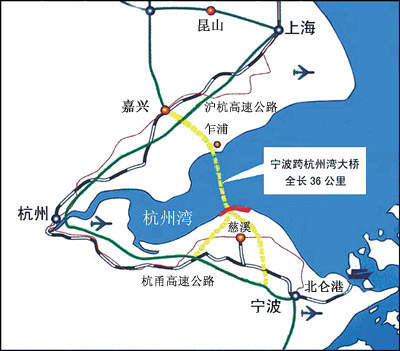 A map of the route of the bridge across the delta.