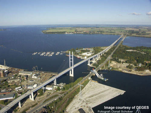 The bridges form a vital link to the popular holiday destination of Ruegen Island.