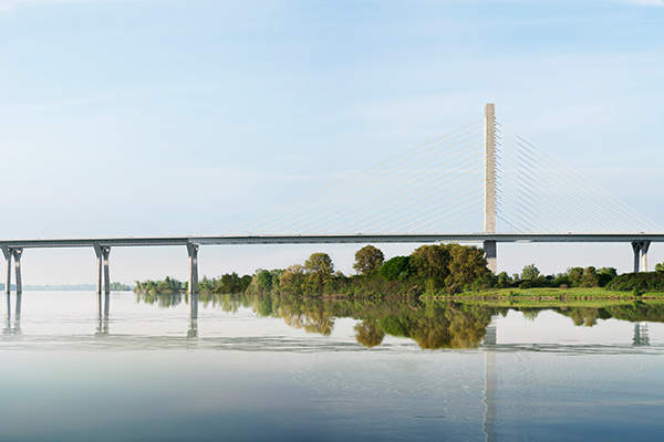 The new Champlain bridge will connect a major corridor used for cross-border goods transport between Canada and the US. Credit: Infrastructure Canada.